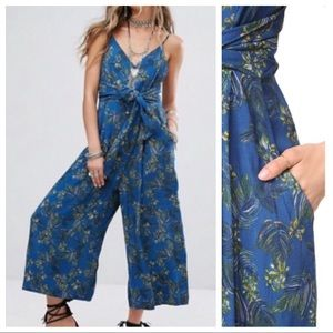 Free People Hot Tropics Blue Jumpsuit